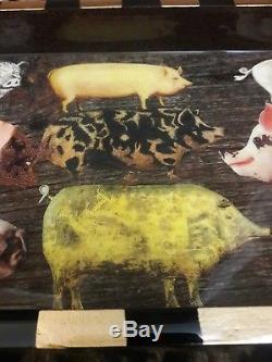 Annie Modica Pigs Fly Farmhouse Wood Tray Decoupage Bacon Art Bar Home Decor NEW