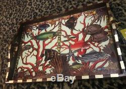 Annie Modica Red Coral Reef Fish Ocean HUGE Wood Serving Tray Beach Lake Art Bar
