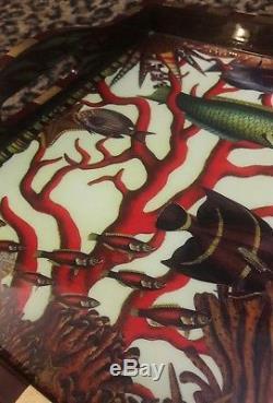 Annie Modica Red Coral Reef Fish Ocean HUGE Wood Tray Decoupage Artist Art Bar