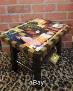 Annie Modica Wine Cheese Foot Stepping Stool Wood Art Home Decor Sommelier NEW