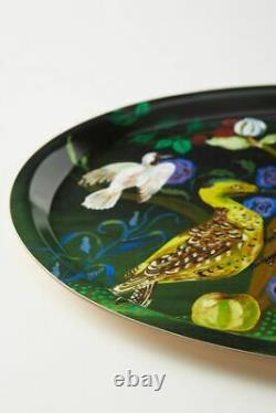 Anthropologie Nathalie Lete Platter Serving Tray Anamalia Birds Green Wooden