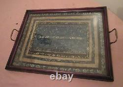 Antique 1800 Qing Dynasty hand embroidered Chinese needlepoint wood tray platter