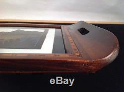 Antique 1945 Wood Serving Tray Hand Made, Inlaid, Reverse Glass Painting