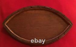 Antique 19th c. Wood Coopered Tray Coaster Oak with Brass Bands Navette Shape