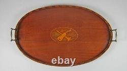 Antique 24 Marquetry Inlaid Mahogany Serving Tray Wood Gallery Brass Handles