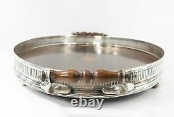 Antique American Silver Plate and Wood Serving Tray with Gallery Cocktails
