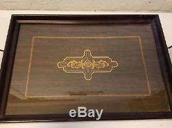 Antique Art Nouveau Wooden Serving Tray with Glass Top