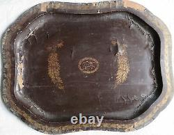 Antique BLACK LACQUER Gold PAINTED Wood Serving Tray Mughal ISLAMIC Persian