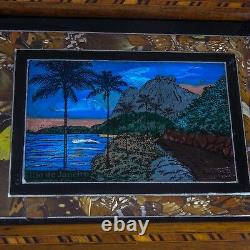 Antique Butterfly Wing Reverse Painting Wood TraySouvenir of Rio de Janeiro