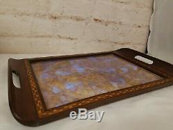 Antique Butterfly Wings Iridescent Blue Morpho Inlaid Wood Serving Tray 21x13