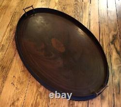 Antique COWAN SERVING TRAY MAHOGANY WOOD BRASS HANDLES VG COND 28x18 OVAL WOW