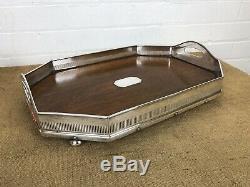 Antique Edwardian Oak Wood Silver Plate Gallery 20 Serving Tray Walker & Hall