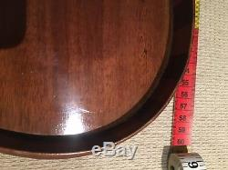 Antique Edwardian Serpentine Inlaid Mahogany Serving Tray With Brass Handles