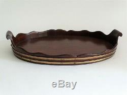 Antique English Mahogany & Brass Butler's Serving Tray
