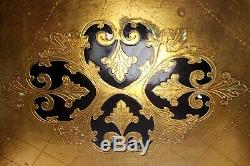 Antique Florence Serving Tray Gold Leaf Wood Hand Made RARE 26.5 x 18.5 inch