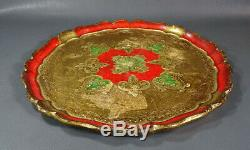 Antique Florentine Toleware Tole Wood Hand-painted Serving Tray Gold Red Mandala
