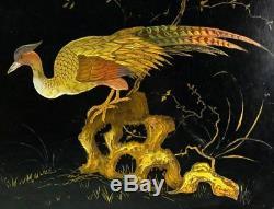 Antique French Papier Mache 20 x 15.75 Serving Tray, HP, Golden Pheasant, Napo