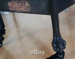 Antique Ghotic Wood Carved Serving Trolley Figural Heads / Carved Paws &Tray