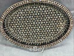 Antique Handmade Serving wood Tray inlaid Mother of Pearl (16x11.2)