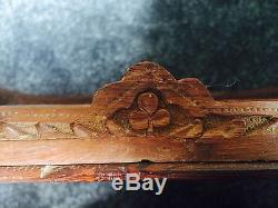 Antique Indian Inlaid Rose Wood Serving Tray Engraved Flower Patterns Unique