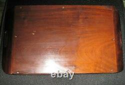 Antique Iridescent Butterfly Wing Serving Tray Wall Hanging Inlaid Wood Gorgeous