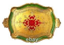 Antique Italian Florentine Wooden Tole Serving Tray Hand Painted Gold Gilt