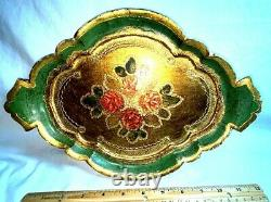 Antique Italian Florentine Wooden Tole Serving Tray Hand Painted Gold Gilt Italy