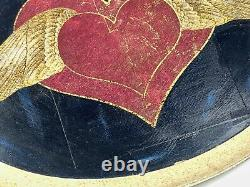 Antique Italy Florentine Wood Tole Serving Tray Hand Painted Heart Wings Nouveau