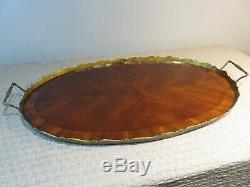 Antique MAHOGANY WOOD Butler's OVAL SERVING TRAY WithBRASS TRIM