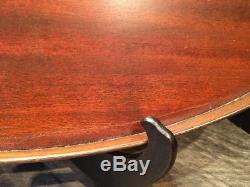 Antique Mahogany Inlaid Butler Oval Serving Tray Signed E. F. S. Maker 14x24