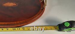 Antique Mahogany Inlaid Serving Tray, Signed and Dated 1914