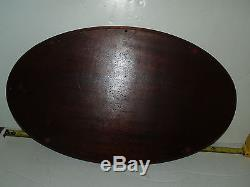 Antique Mahogany Wood Inlay Glass Top Art Deco Brass Handle Butlers Serving Tray