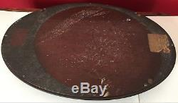 Antique OVAL 20 Federal Revival INLAID Mahogany BUTLER SERVING TRAY with Glass