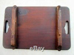 Antique Old Rare Wood Beautiful Flower Carving Indian Kitchen Use Plate Tray