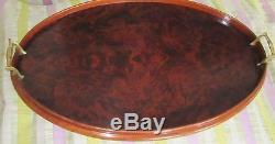 Antique Oval Flame Mahogany Tray Georgian Style Tea Serving Brass Handles