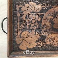 Antique Pyrography Flemish Wood Art Nouveau Lady Vintage Serving tray