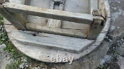 Antique Serving table Dough kneading table serving tray big round wooden 19th
