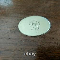 Antique Silver Plate Edged Oval Wooden Serving Tray Art Deco