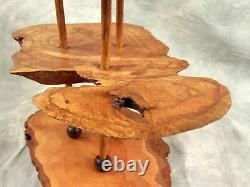Antique Tramp Folk Art 3 Tiered tidbit serving tray Tree Trunk Bark handmade