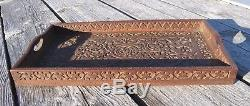 Antique VICTORIAN Butler SERVING TRAY Ornate CHIP CARVED Wood Mahogany 1860s