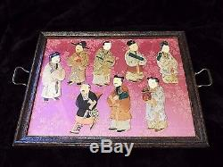 Antique Victorian Edwardian Oriental Silk Character 8 immortal serving Tray