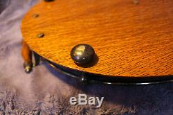 Antique Victorian Edwardian Oval Oak Serving Tray with Ball Handle Rail Gallery