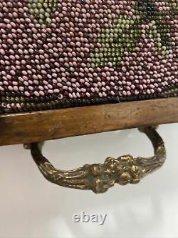 Antique Victorian Hand Beaded Flowers Wood Serving Tray with Handles