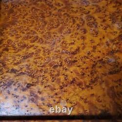 Antique Victorian Solid Burl / Birdseye Maple Wood Drinks Serving Cabinet Tray