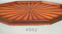 Antique Victorian Wooden Starburst Inlaid Serving Tray