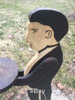 Antique Vintage Folk Art Wooden Butler Serving Tray Card Holder Smoking Stand