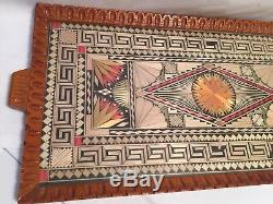 Antique Vintage Indian/Greece Wooden Serving Tray Rustic Decorative Glass Top