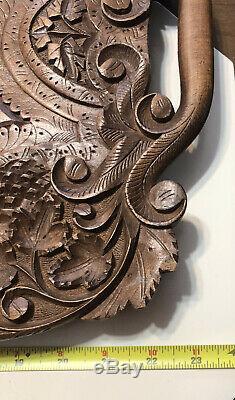 Antique Vintage Walnut Wood Hand Carved Handled Serving Tray