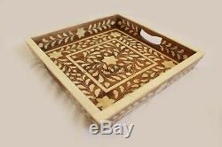 Antique Wood Bone Inlay Handmade Tray