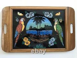 Antique Wood Inlaid BUTTERFLY WING X Large Serving Tray 1920s-1930s Brazil